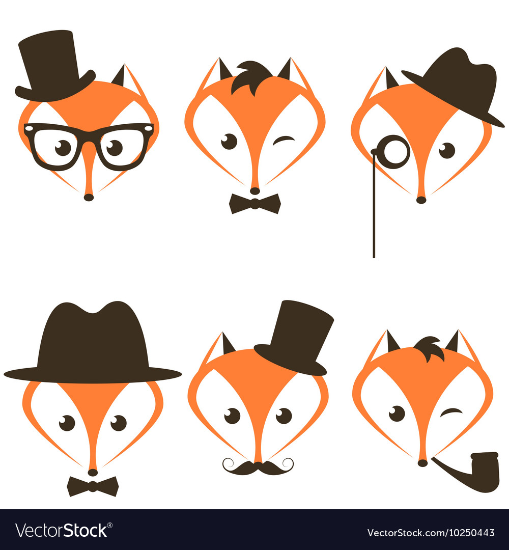 Hipster fox icons set vector