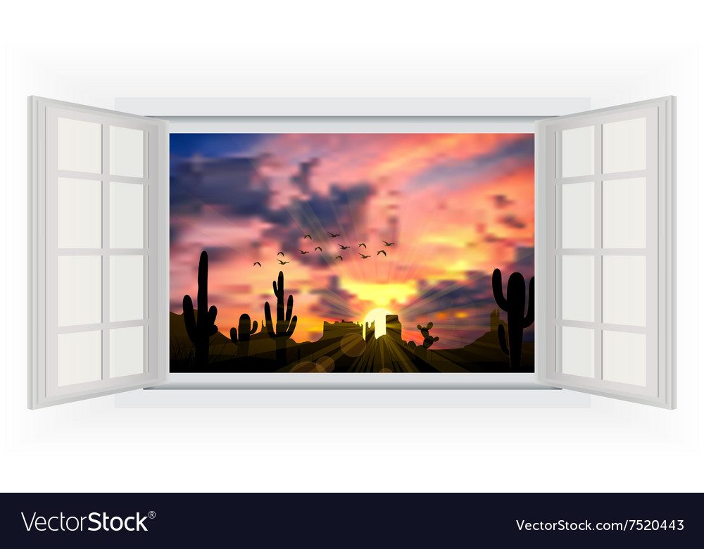 Opens window in room with view of cactus tree vector
