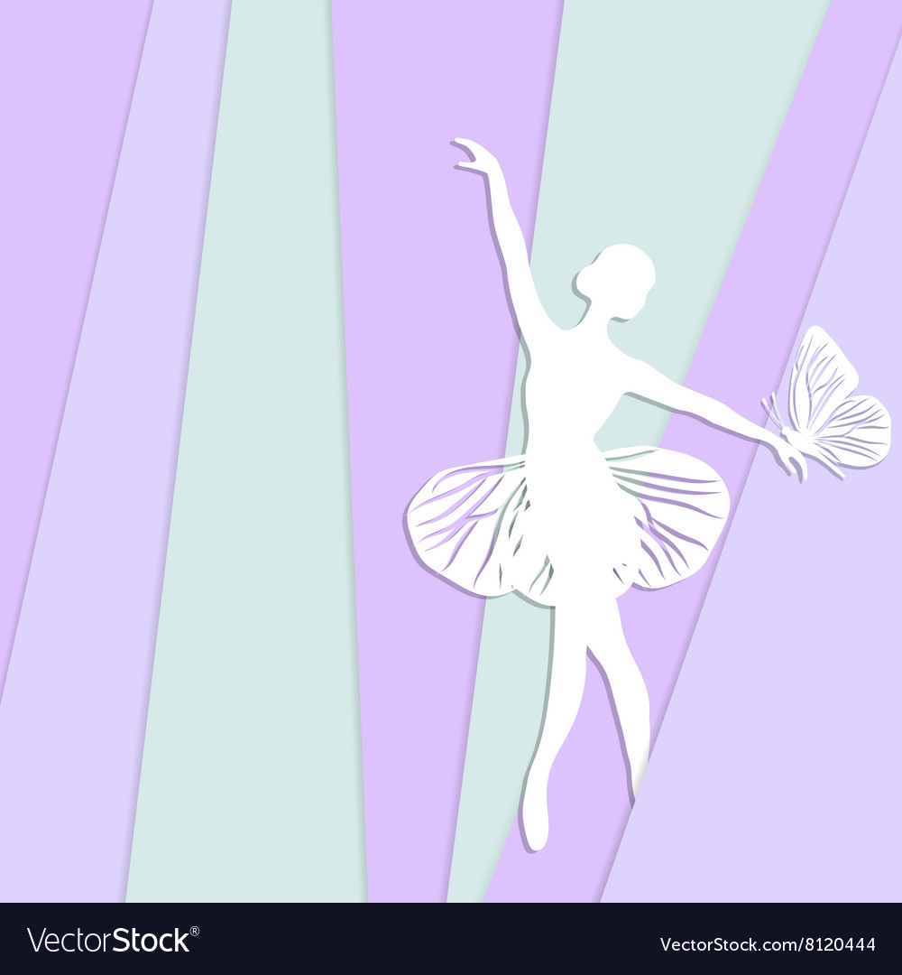 Silhouette of dancing girl with butterfliy vector