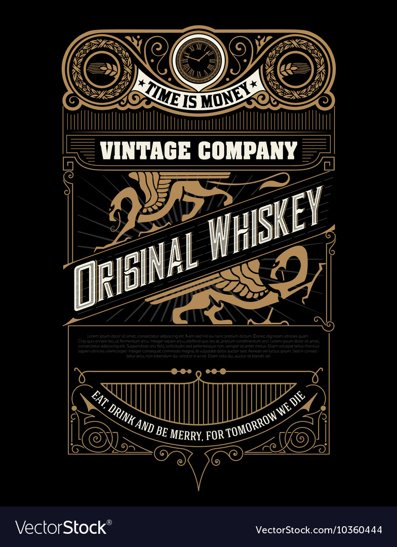 Whiskey label with old frames and ornaments vector
