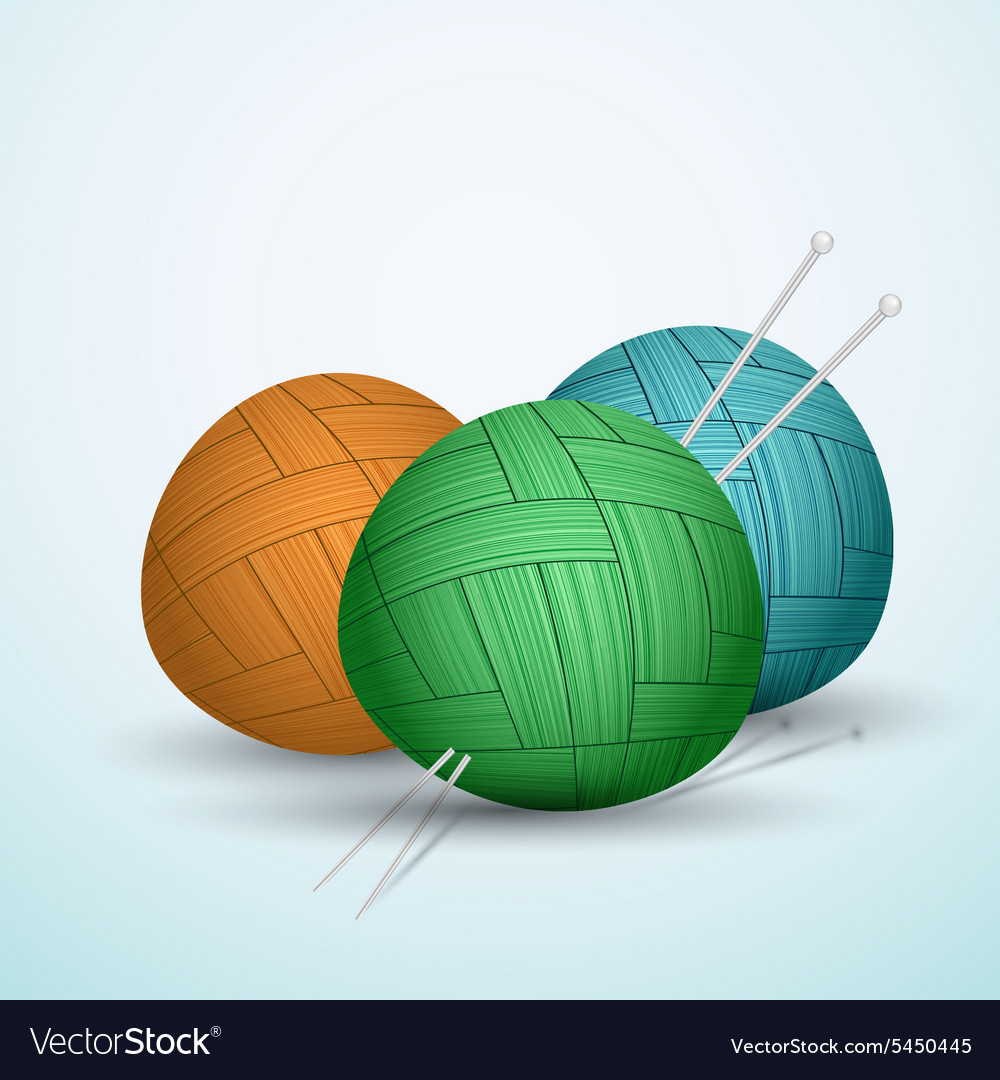 Knite balls of yarn on blue background vector