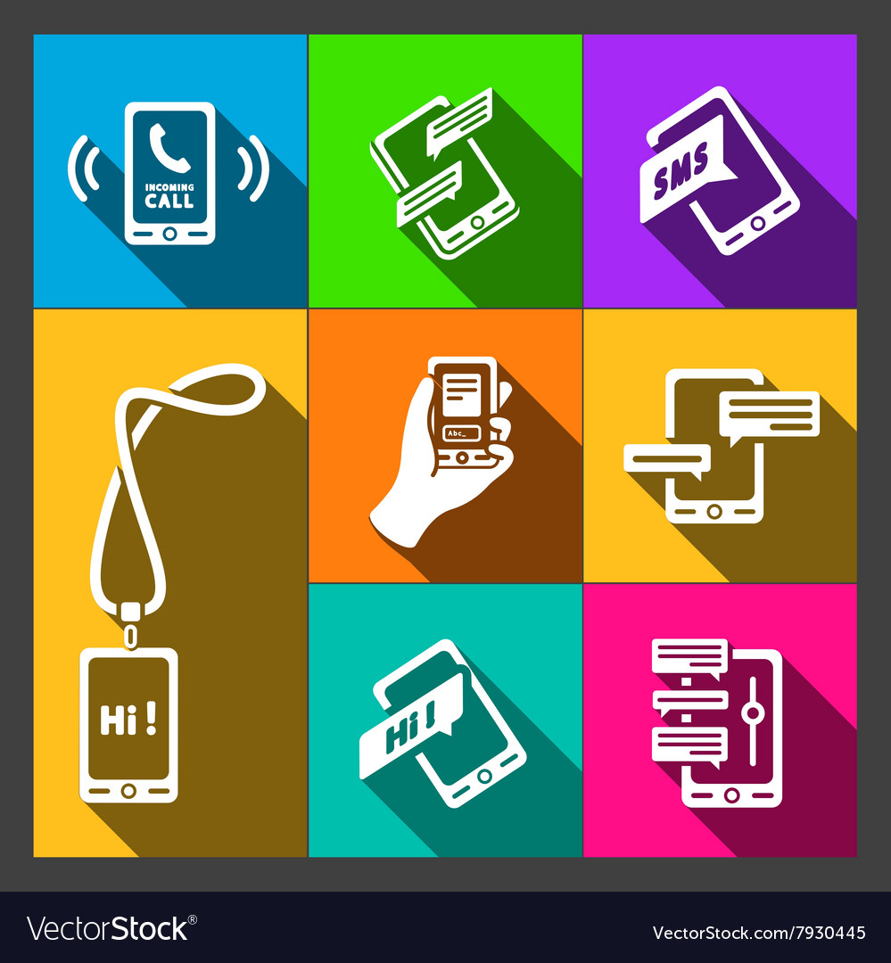 Smart phone icons on colorful background vector
