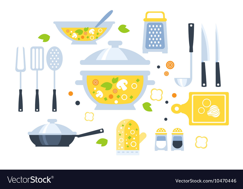 Soup preparation set of utensils vector