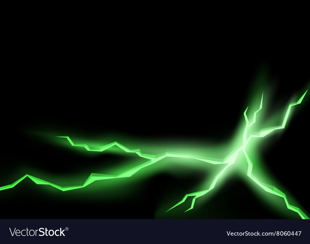 Green lightning cracks vector