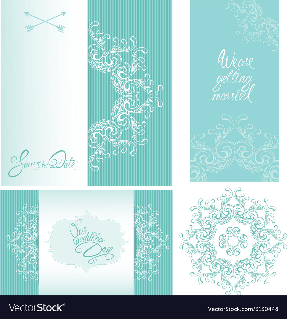 Set of wedding invitation cards with floral elemen vector