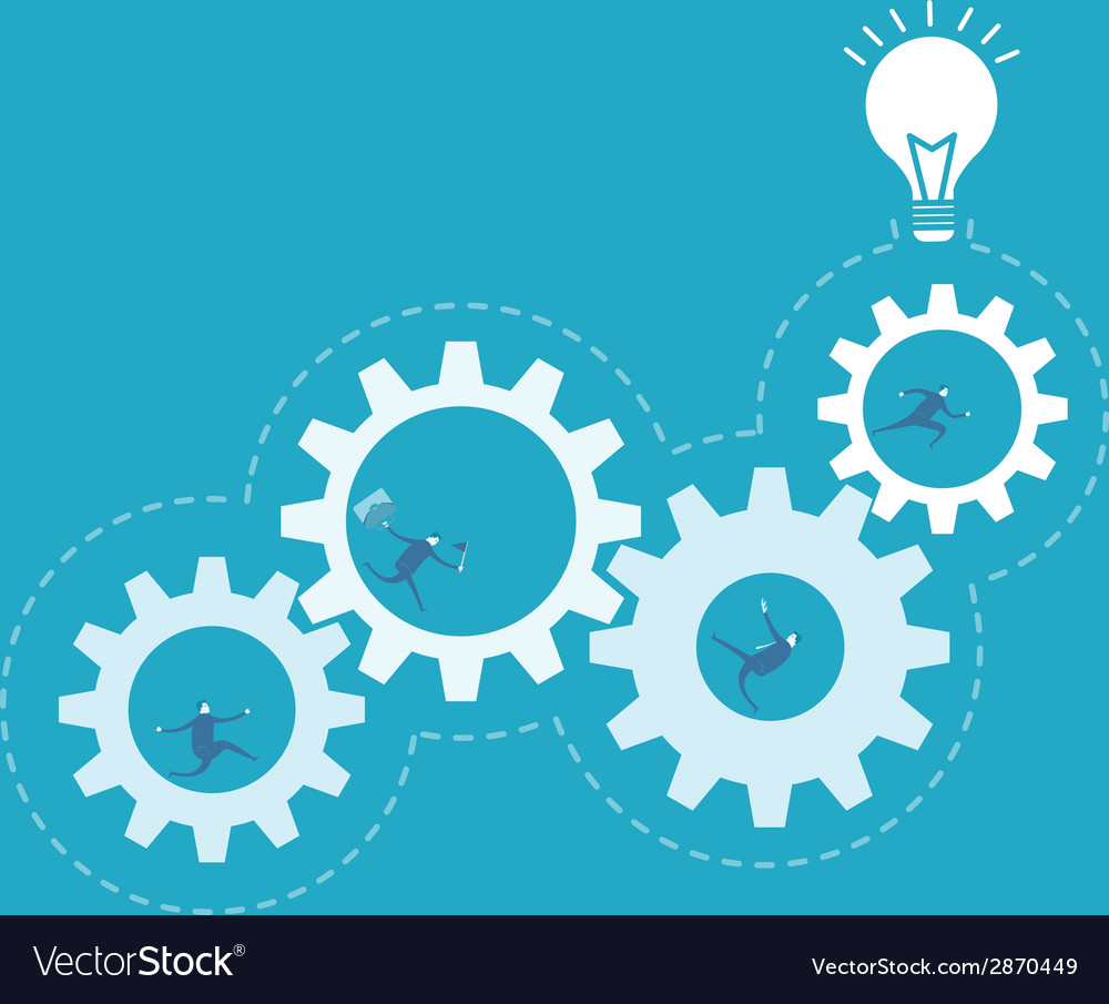 Business man spin the gear process improvement vector