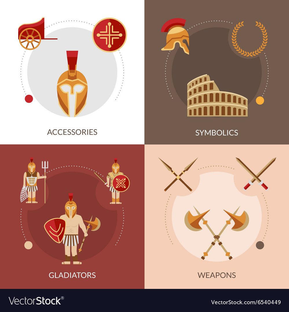 Gladiator flat set vector