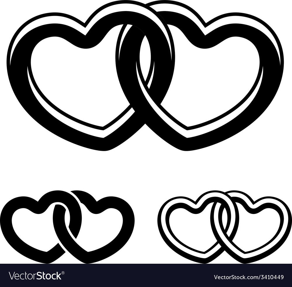 Linked hearts black white symbols vector