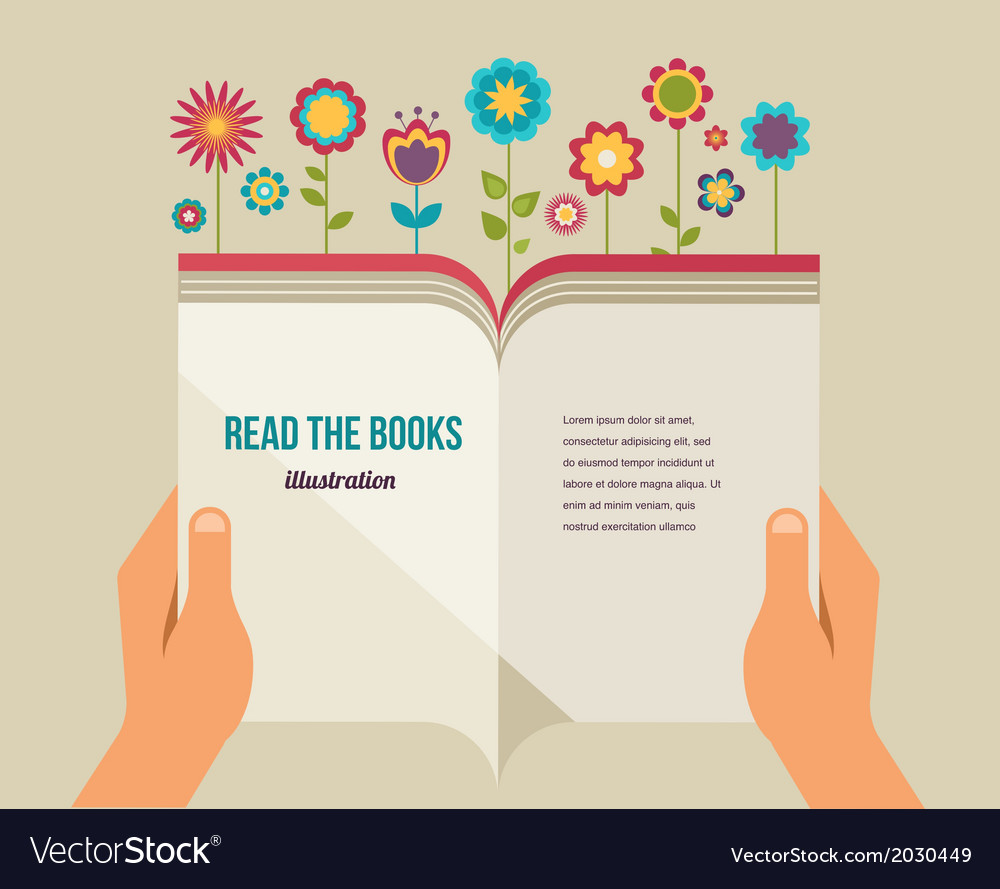 Open book with flowers flat icons vector