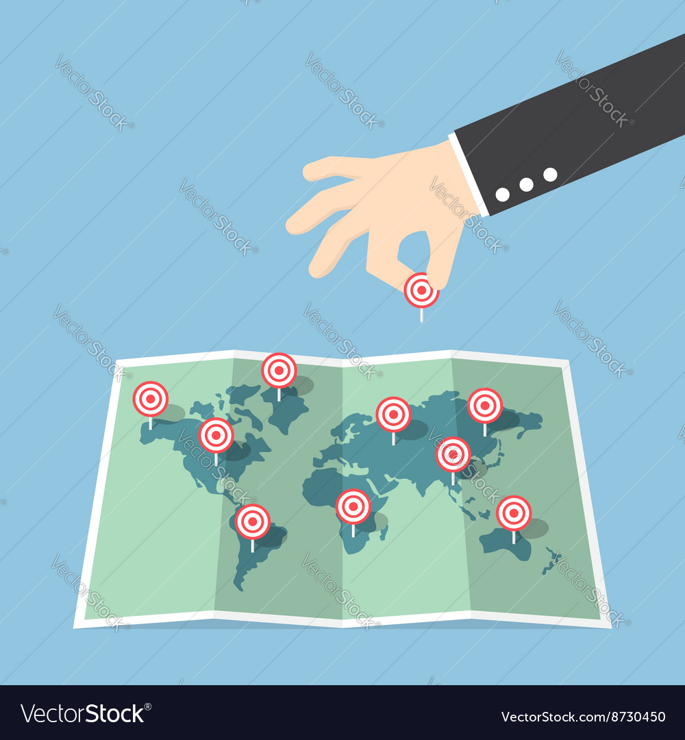 Businessman hand pin target to world map vector