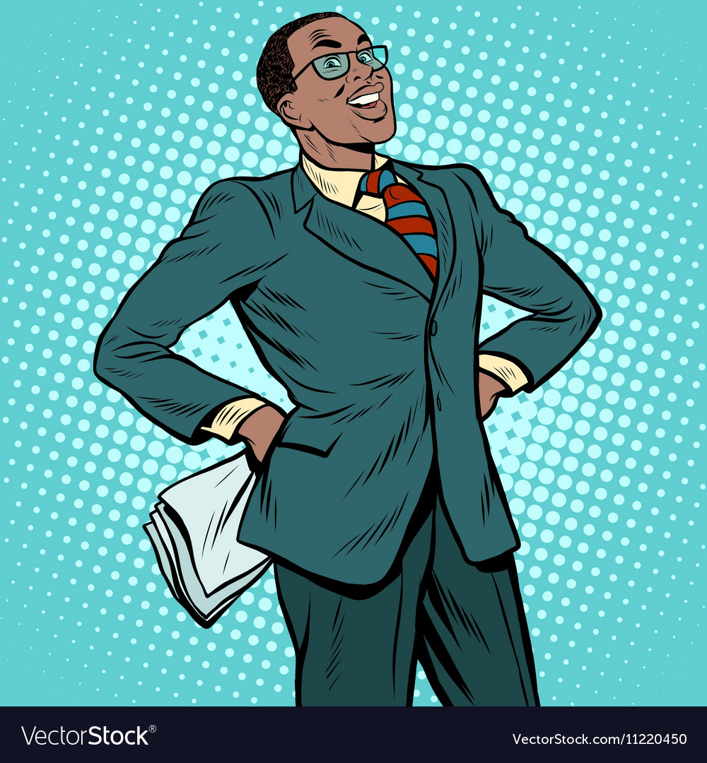 Confident african businessman vector