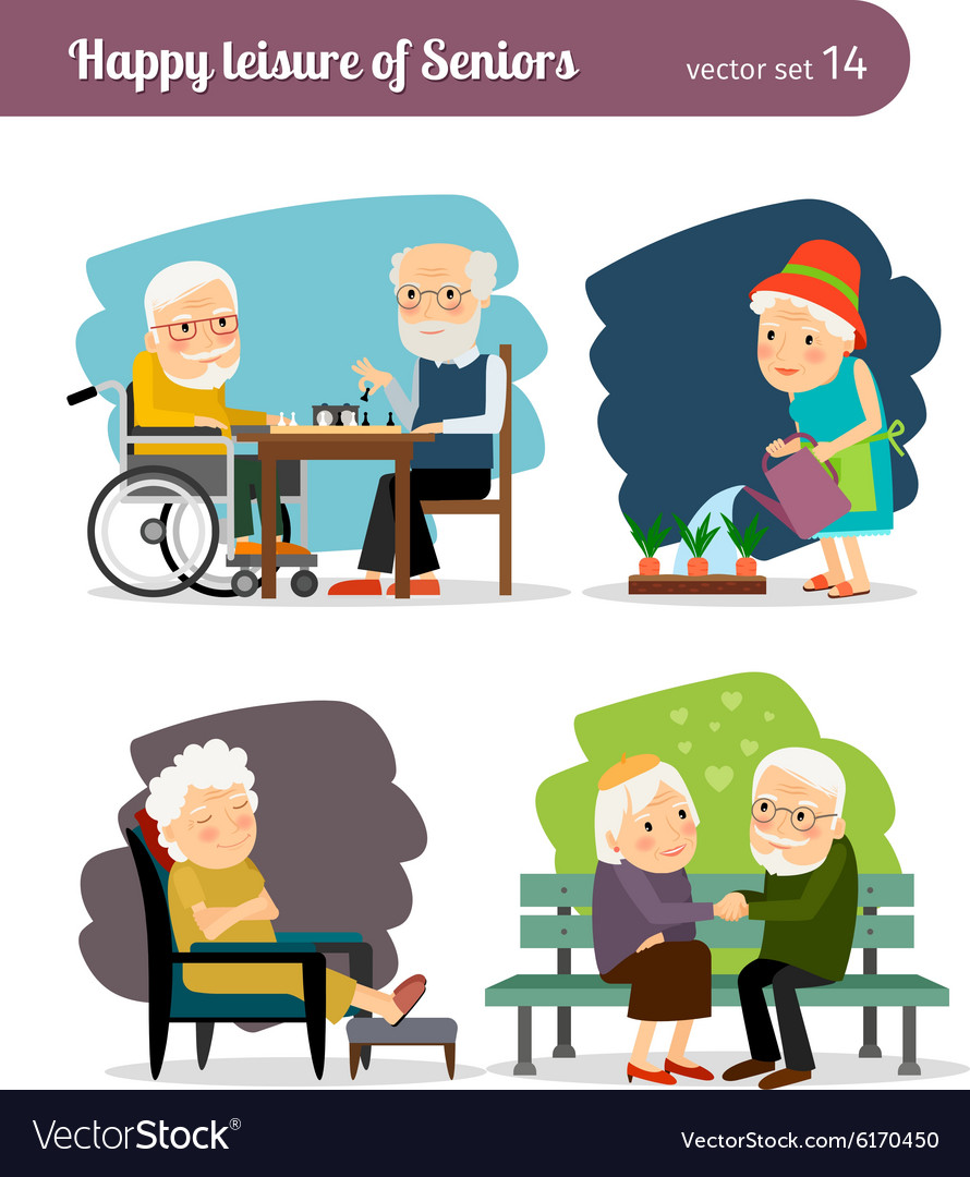 Seniors happy leisure vector