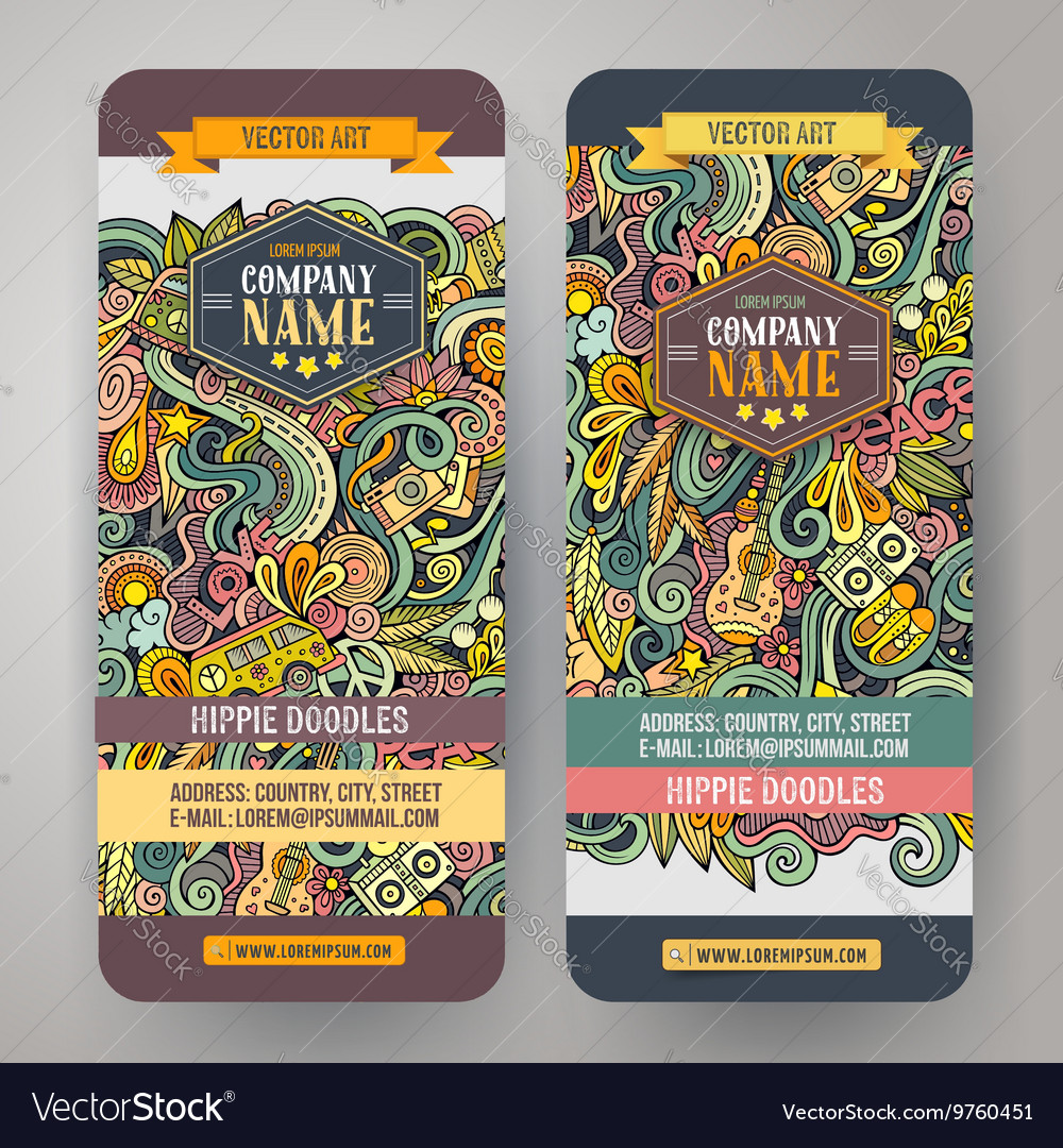 Cartoon doodles hippie banners vector