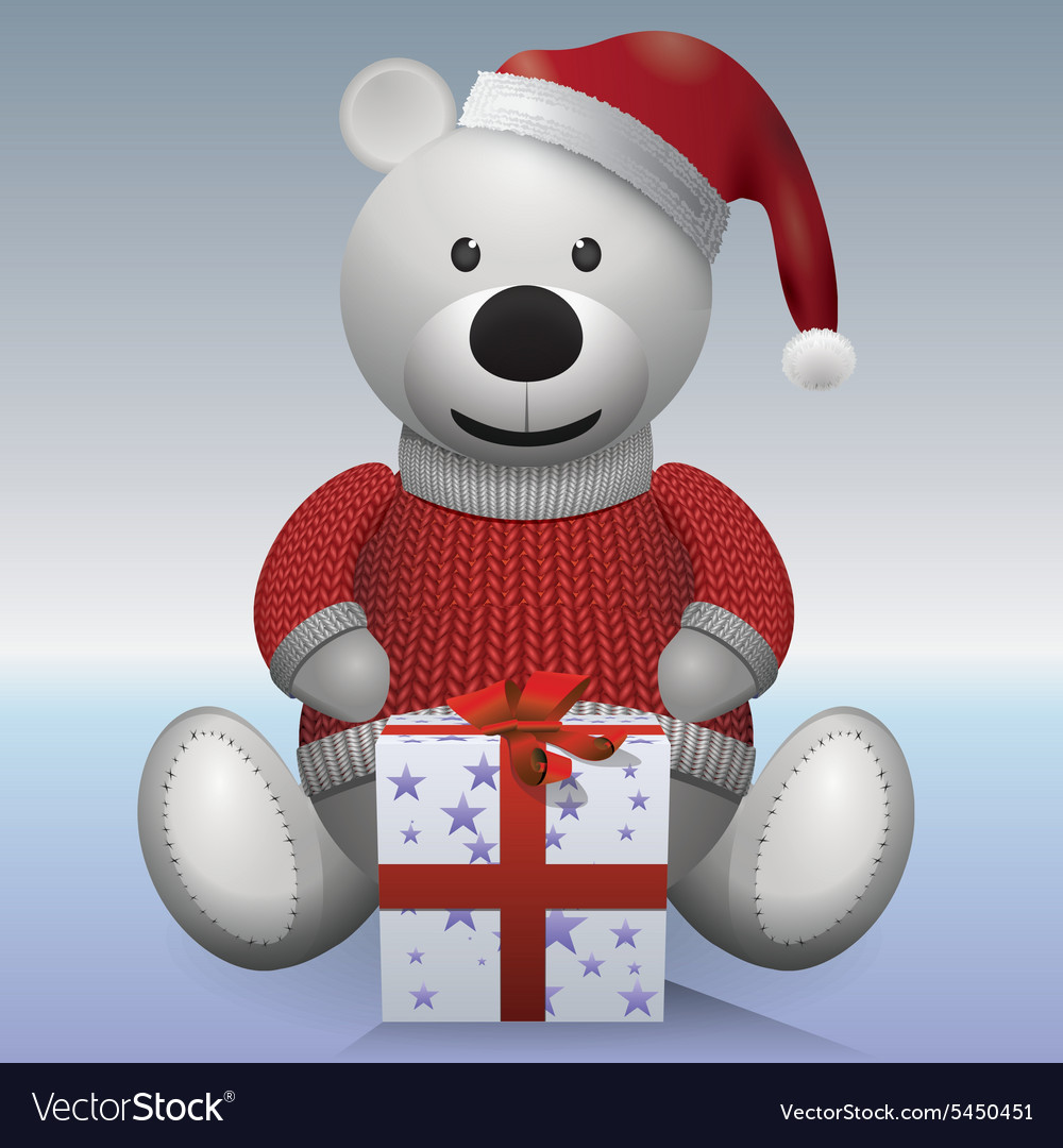 Teddy bear white in red sweater and red hat with vector
