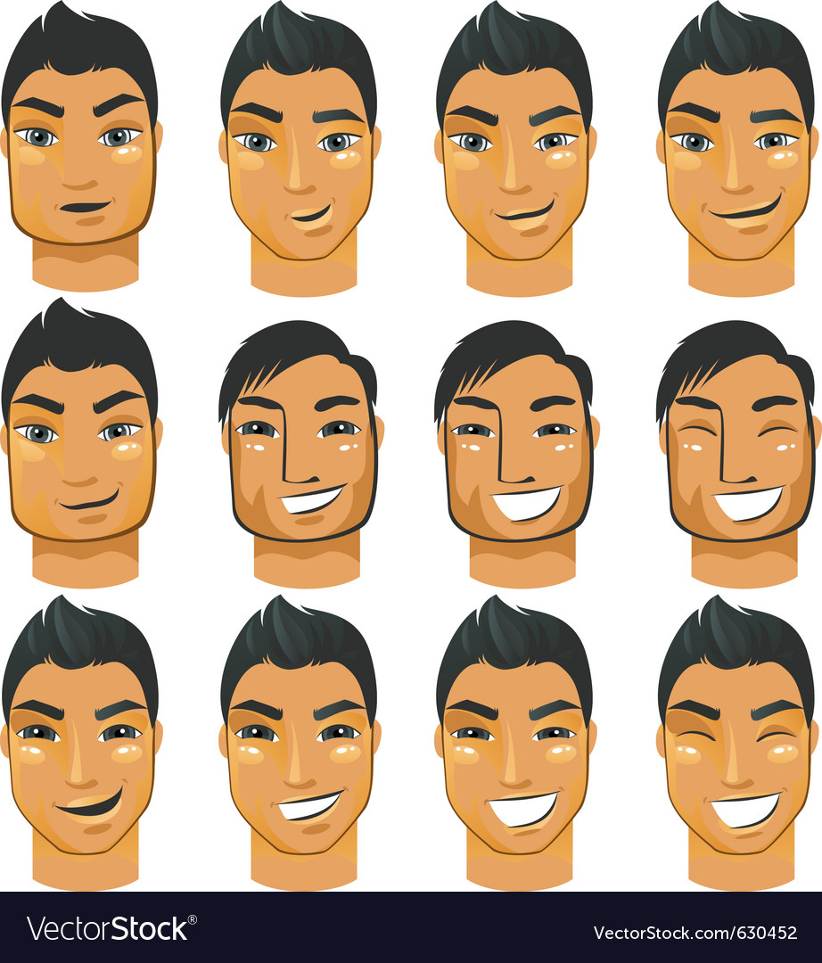Male head icons vector