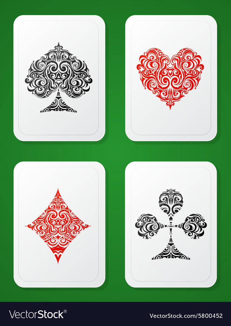 Playing card suits ornamental vector