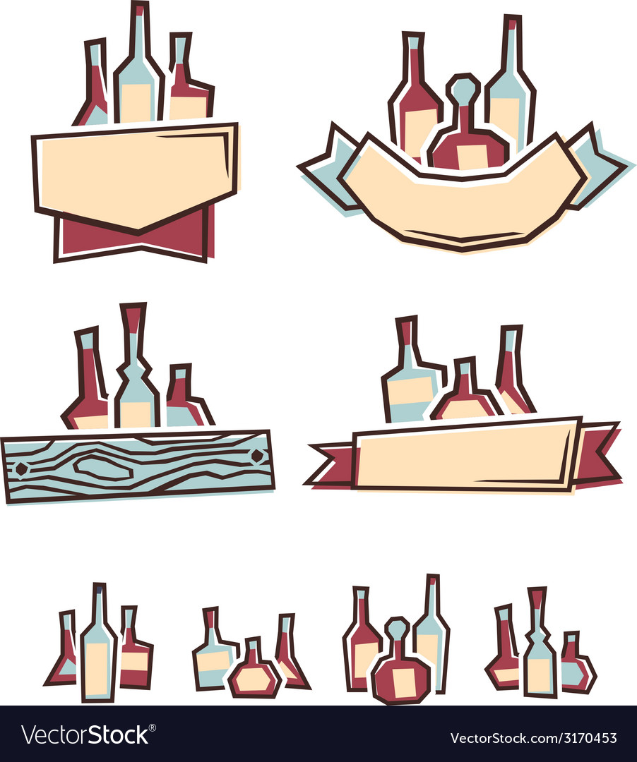Alcohol labels vector