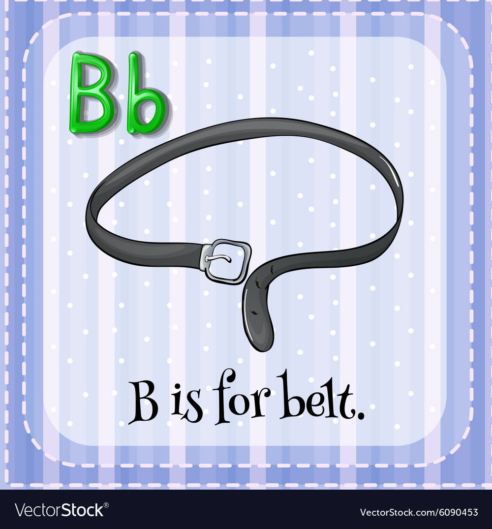 Flashcard letter b is for belt vector