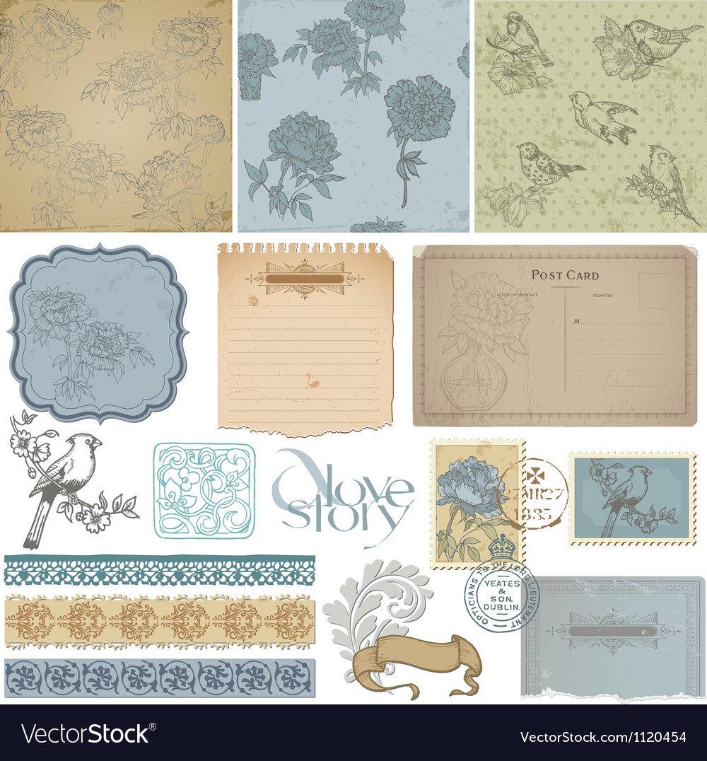 Design elements  vintage bird and peony set vector