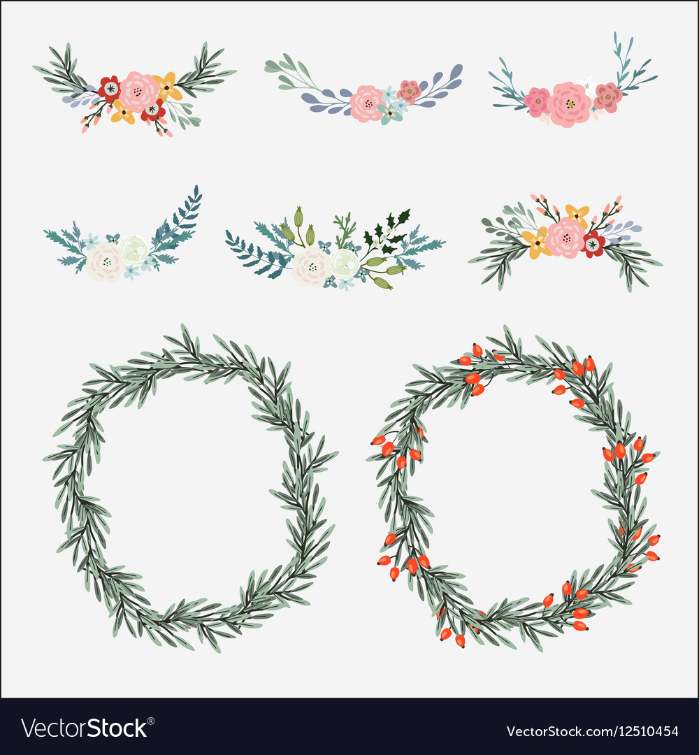 Hand drawn set of floral bouquets and wreath with vector