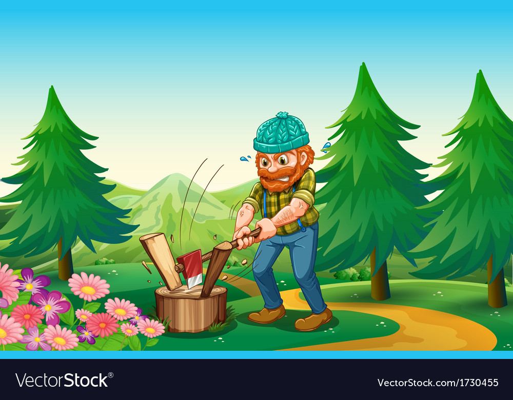 A hardworking woodman chopping the wood near the vector