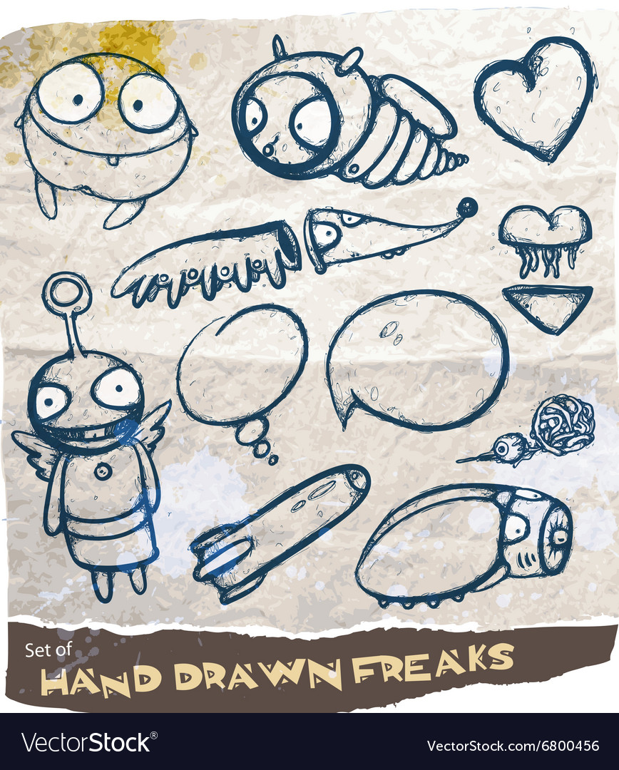Hand drawn freak set vector