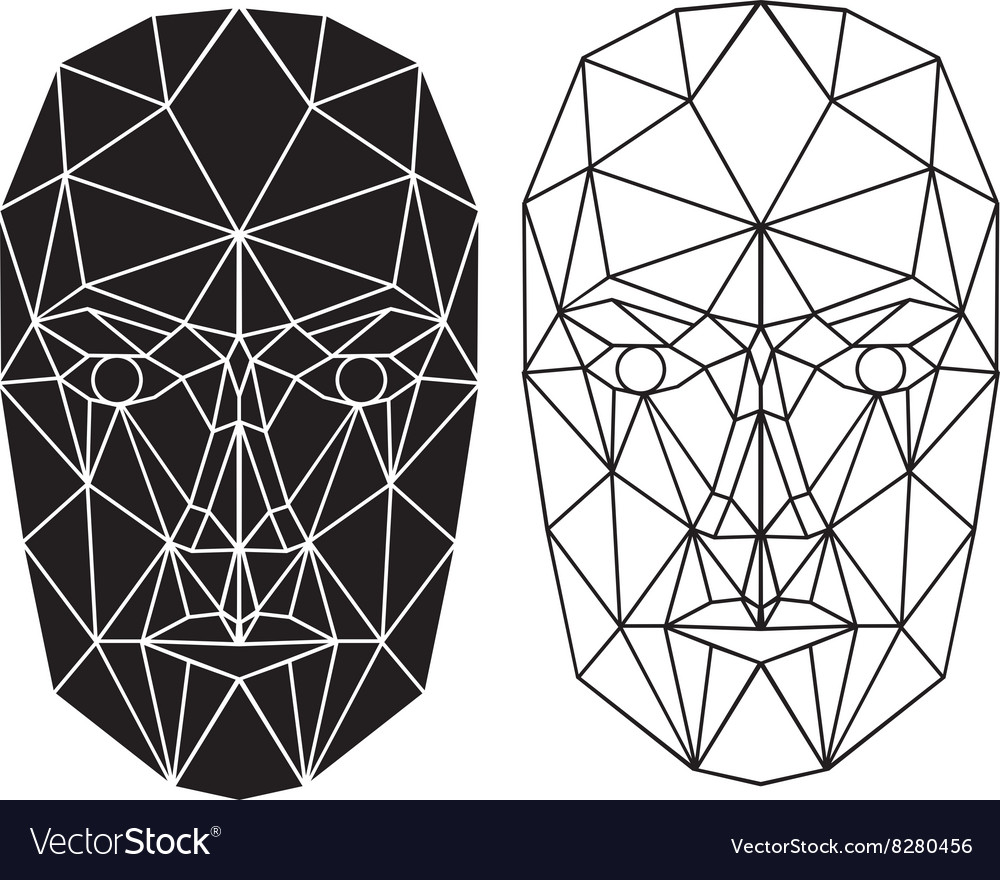 Triangle abstract human face front view vector