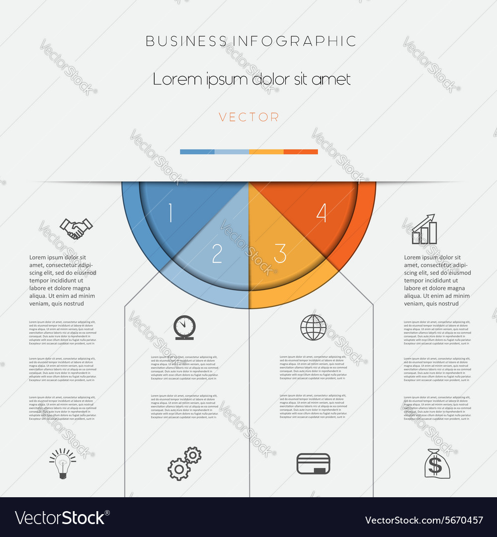 Infographic color semicircle on four positions vector