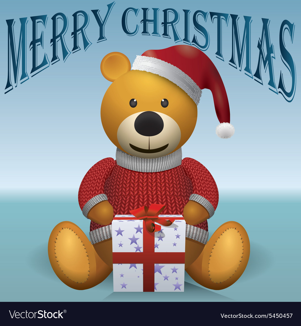 Teddy bear in red sweater red hat with present vector