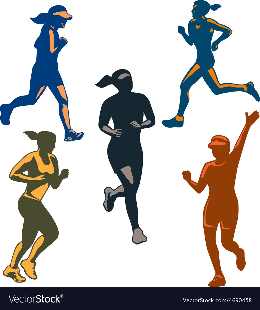 Female marathon runners retro set vector