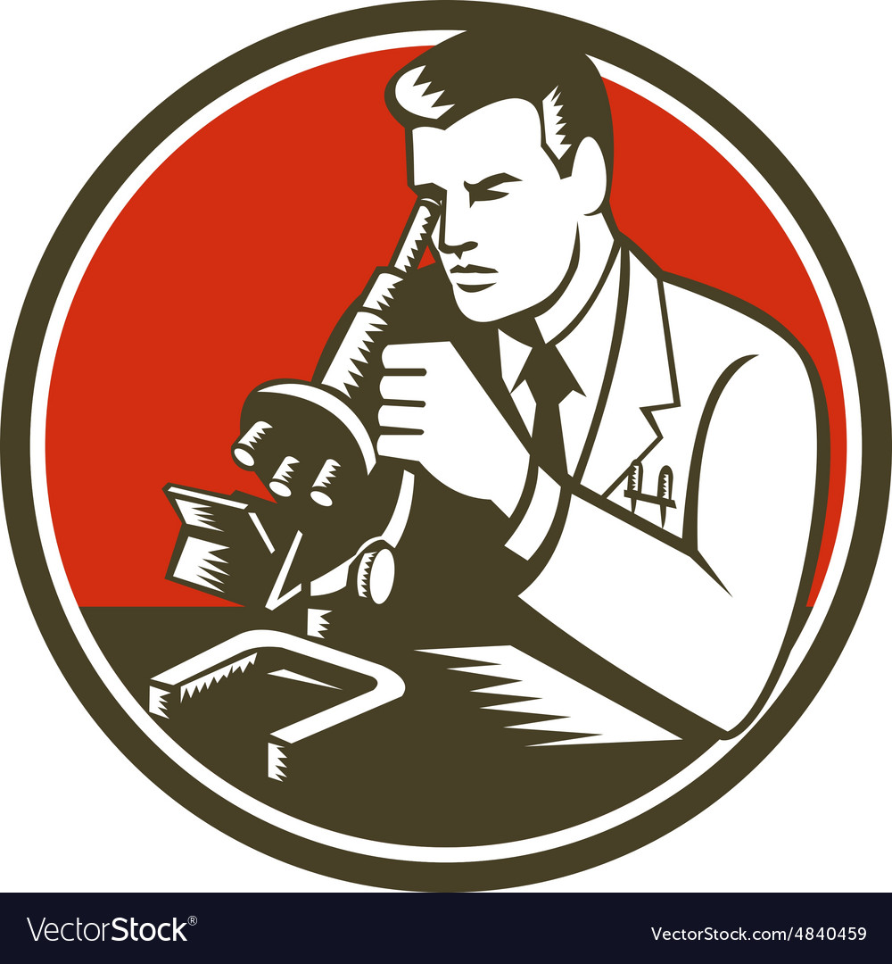 Scientist lab researcher chemist microscope retro vector