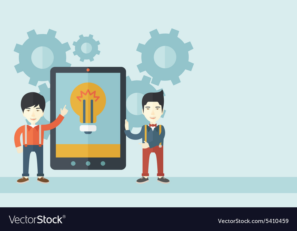 Two businessmen holding big screen tablet vector