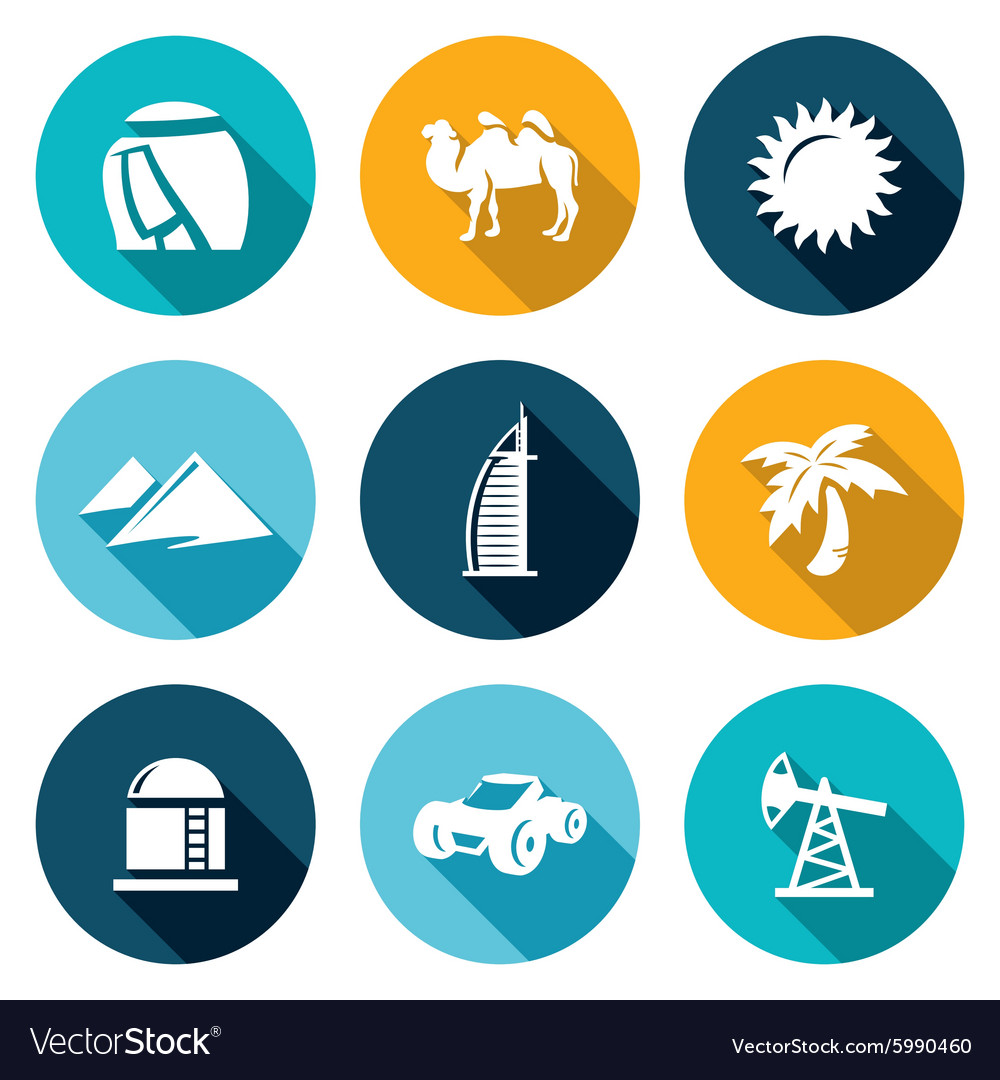 Arab emirates icons set vector