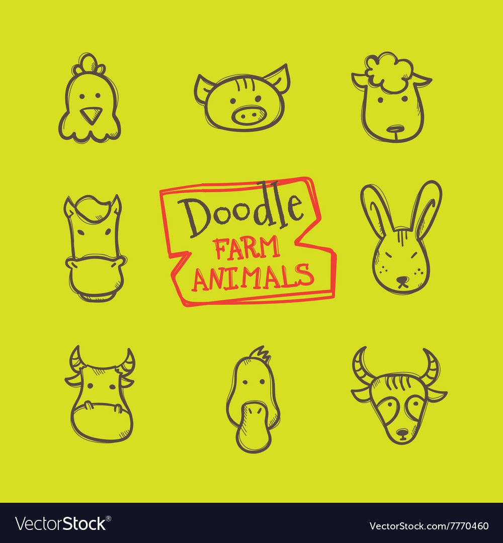 Doodle style farm animals icons set cute vector