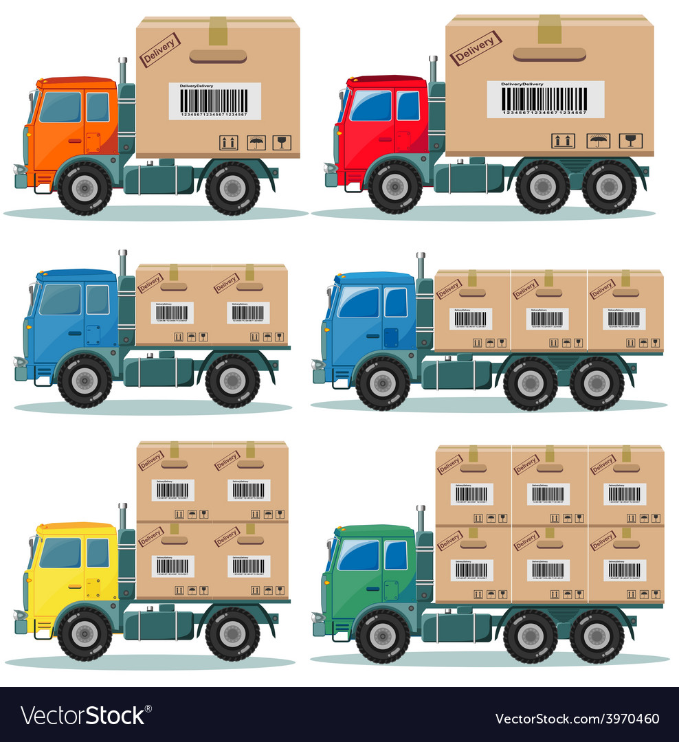 Truck for delivery set vector