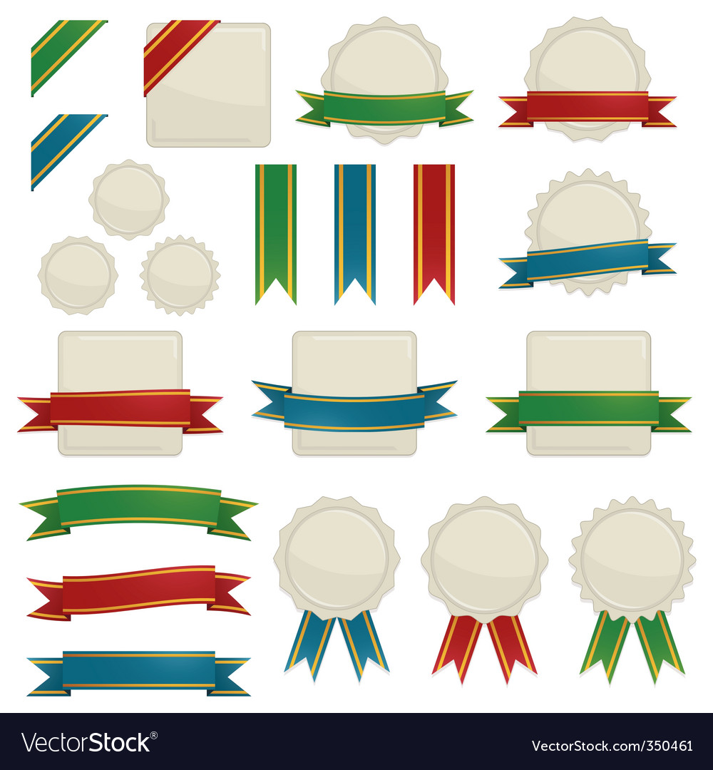 Ribbons and seals vector