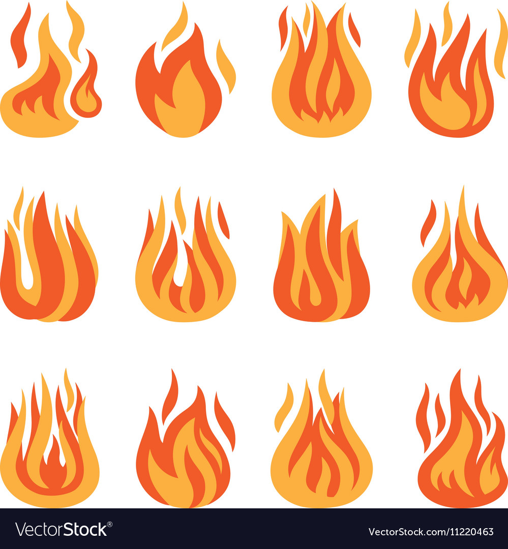 Fire flame silhouette set vector