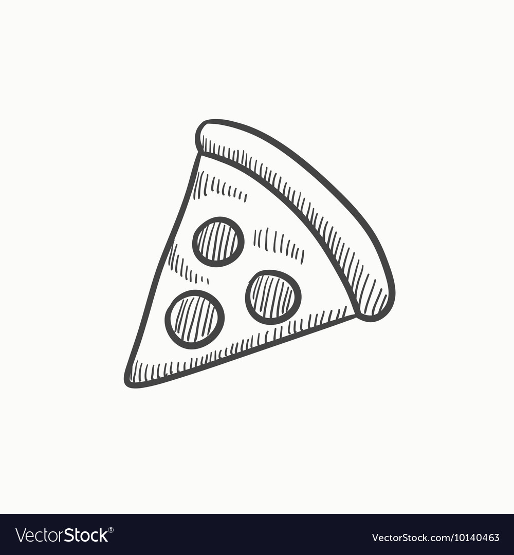Pizza slice sketch icon vector