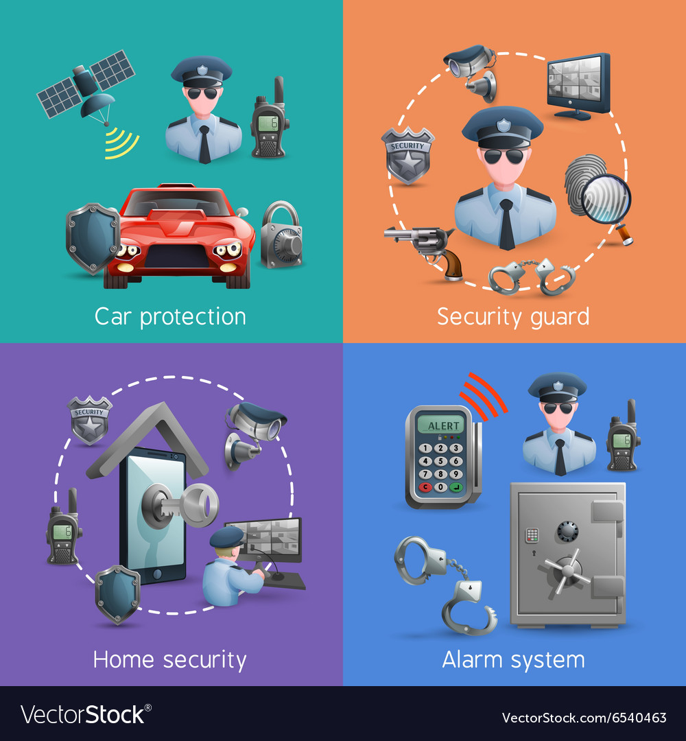 Security design concept set vector
