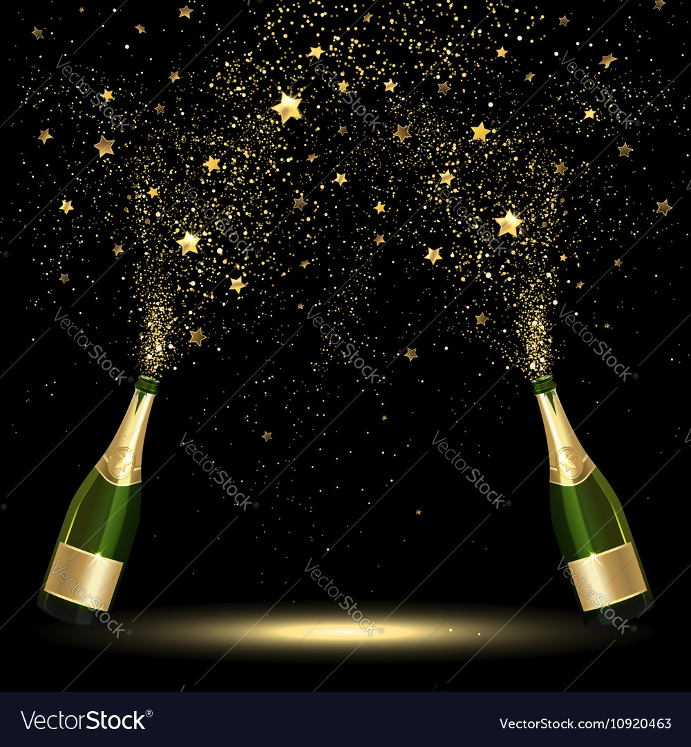Spray bottle of champagne golden confetti vector