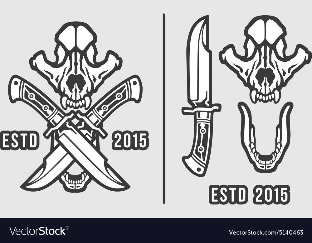 Wolf skull with crossed knives logo emblem vector