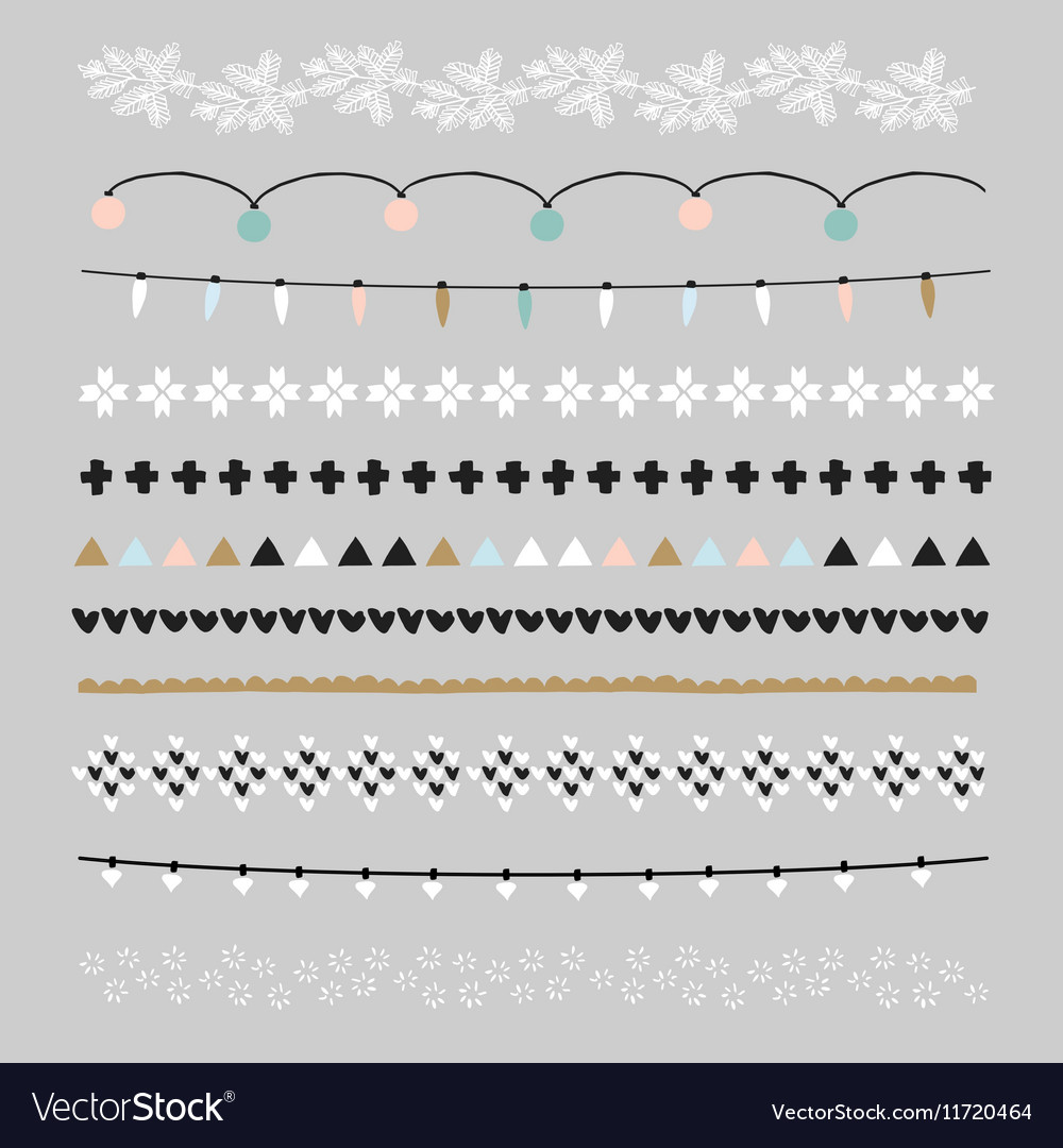Set of christmas borders and brushes party vector
