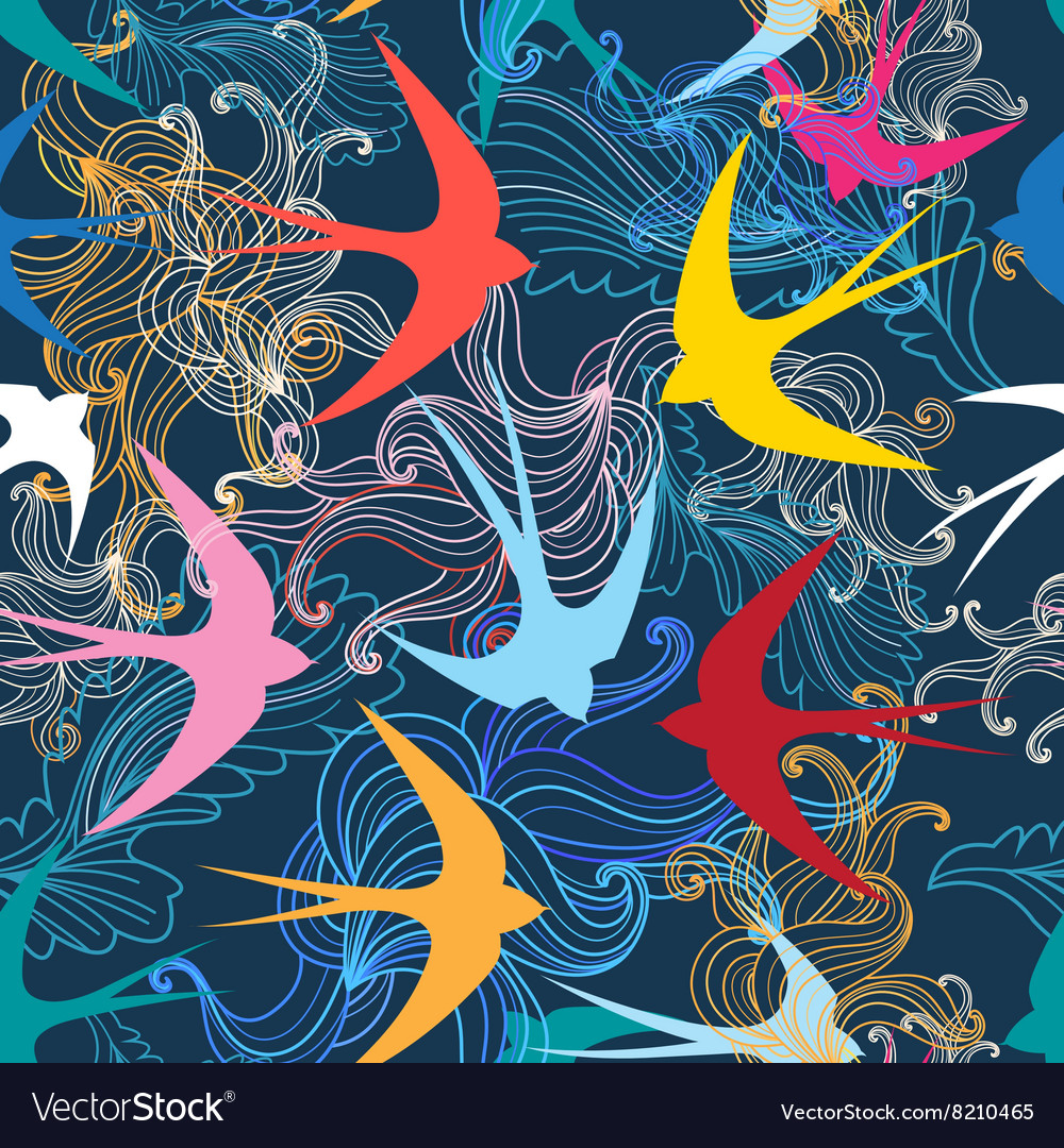 Graphic seamless pattern with colorful swallows vector