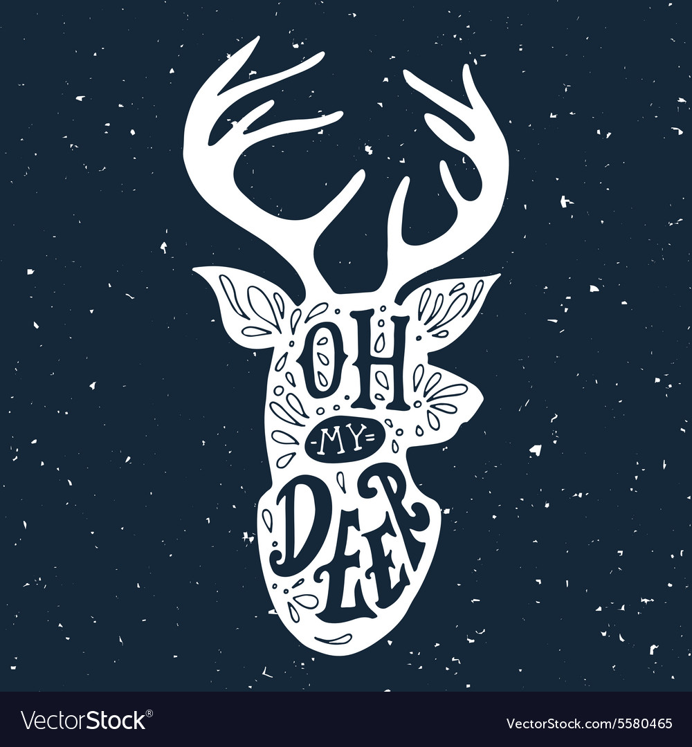 Hand drawn vintage label with a reindeer and vector