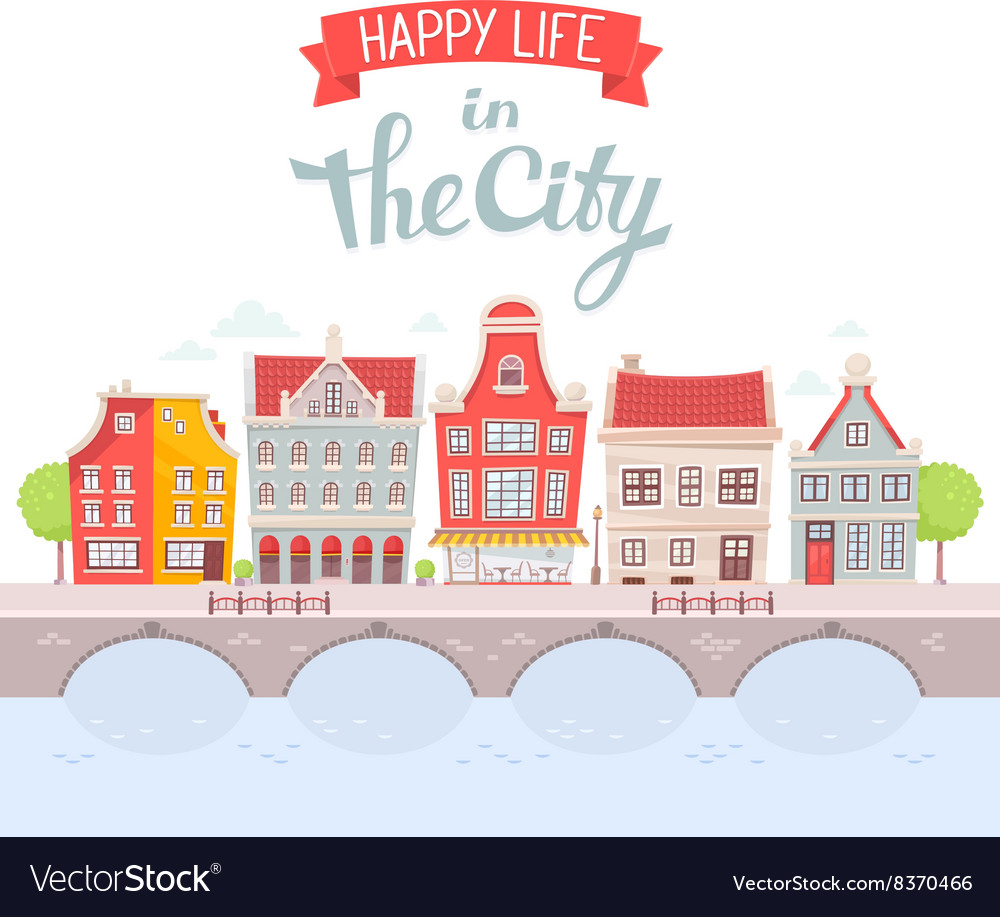 City landscape on the river bank on white vector
