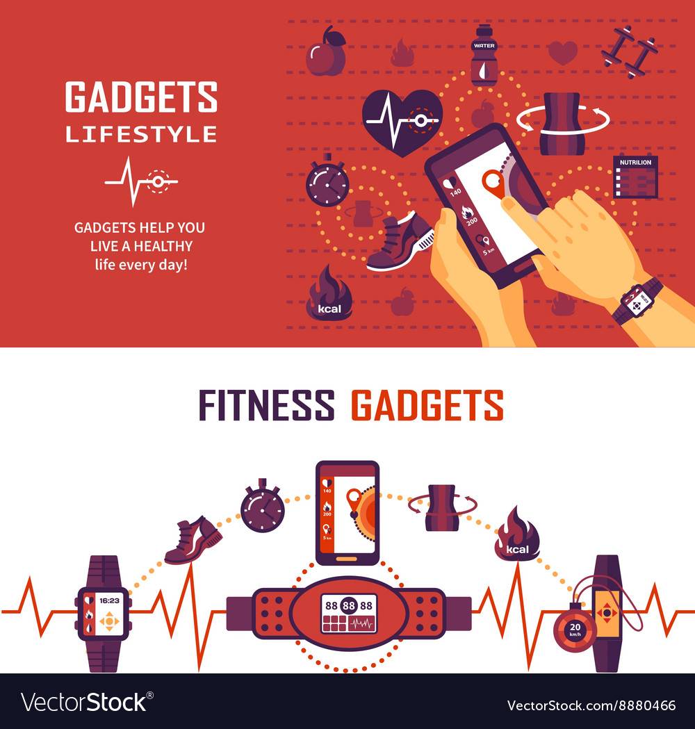 Fitness monitoring banners vector