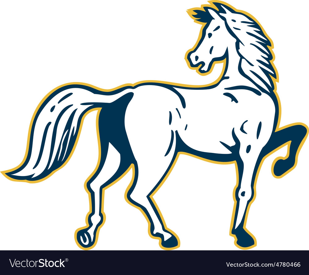 Horse prancing rear view retro vector