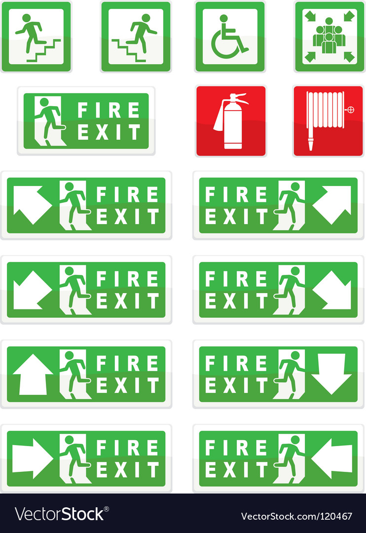 Sign exit signs vector