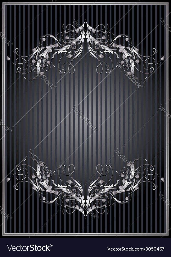 Striped background with silver ornament vector