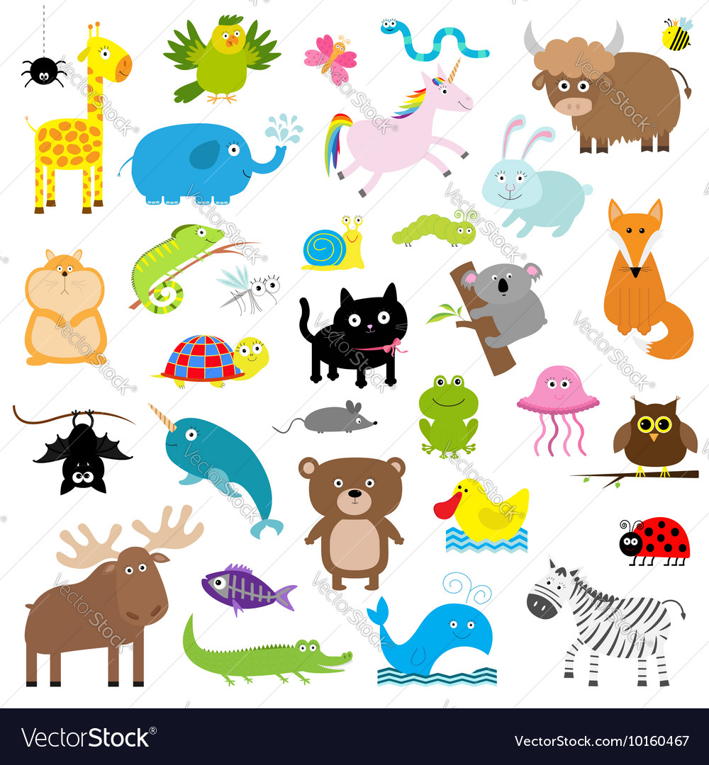 Zoo animal set cute cartoon character collection vector